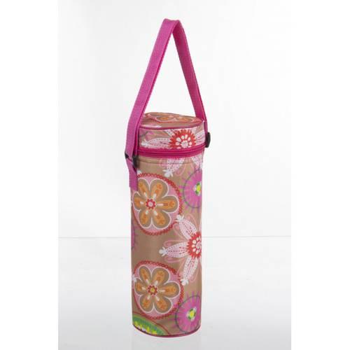 Borsa termica portabottiglia fiori rosa