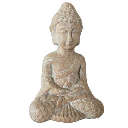 Buddha seduto in meditazione terracotta beige 26h