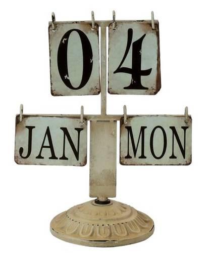 Calendario da tavolo metallo bianco vintage