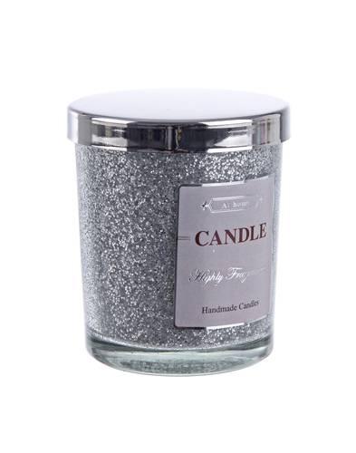 Candela vaniglia in bicchiere glitter argento