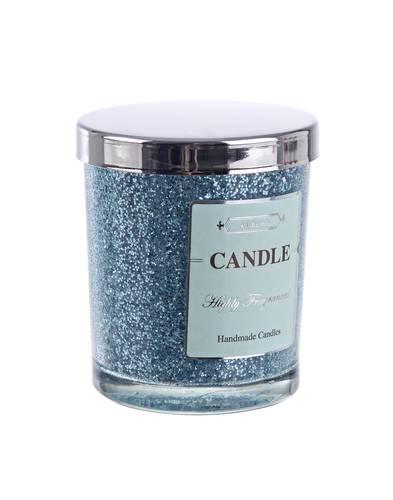 Candela vaniglia in bicchiere glitter azzurro