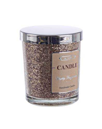 Candela vaniglia in bicchiere glitter oro