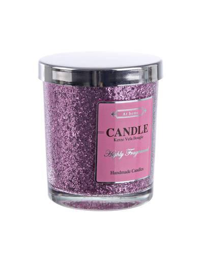 Candela vaniglia in bicchiere glitter rosa