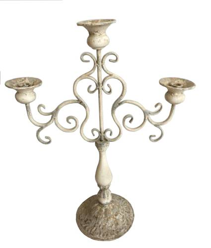 Candeliere 3 braccia ferro bianco shabby 60h