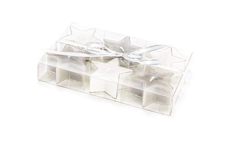 Candelina tealight stella bianca 6pz