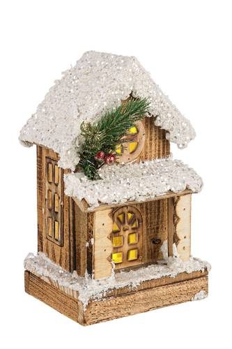 Casa legno natale con portico luce led 24h
