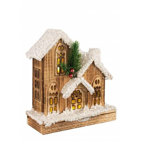 Casa legno natale luce led 3 tetti 25h