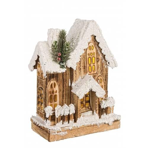 Casa legno natale luce led 3 tetti 28h