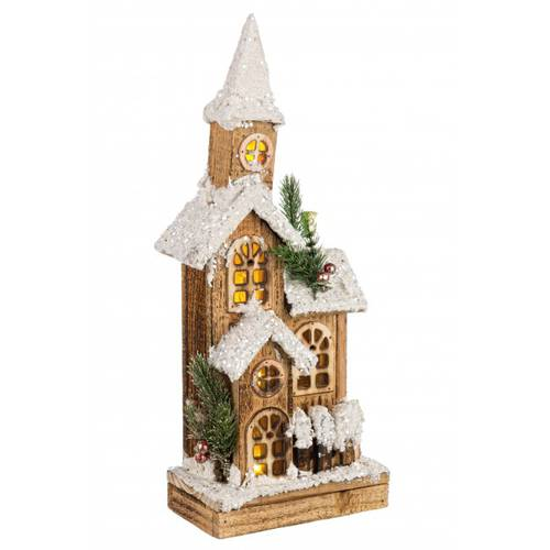 Casa legno natale luce led 4 tetti 40h