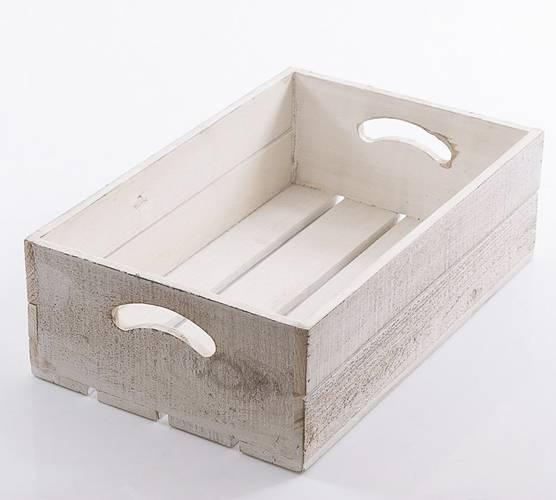 Cassetta legno bianco shabby con maniglie 37x24