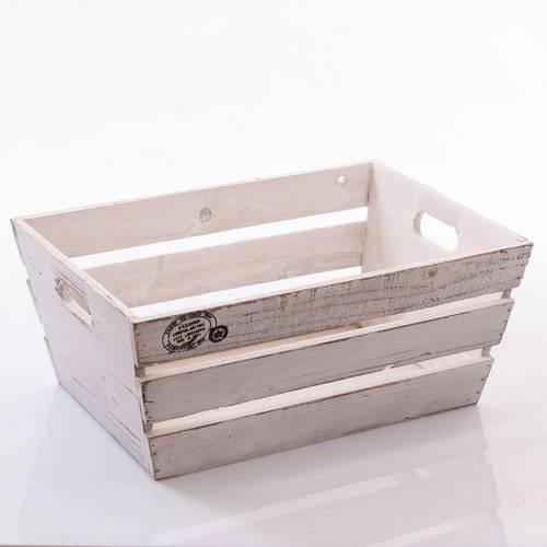 Cassetta legno bianco shabby svasata tipo frutta 40x27x17h