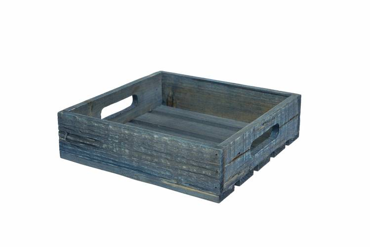 Cassetta legno blu quadrata 22x22