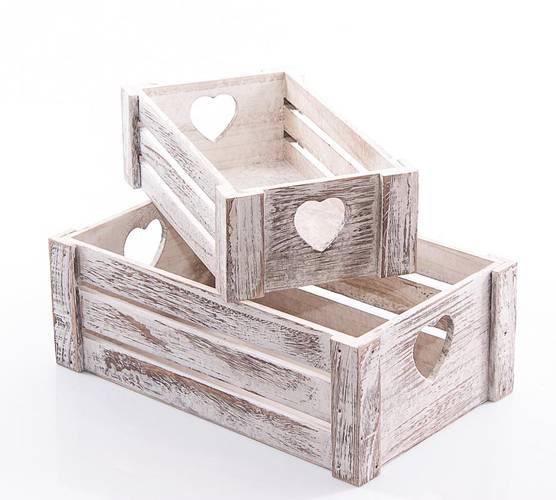 Cassetta legno frutta bianco shabby maniglia cuore