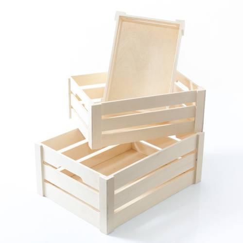 Cassetta legno naturale tipo frutta formato alto