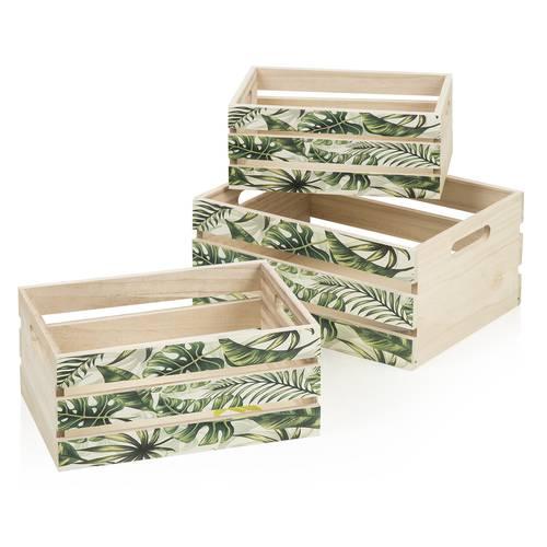 Cassetta legno naturale stampa foglie