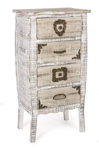 Cassettiera antiques legno bianco 4 cassetti