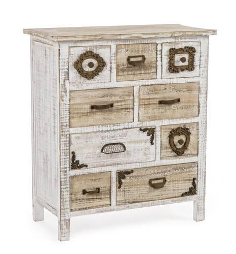 Cassettiera antiques legno bianco 9 cassetti