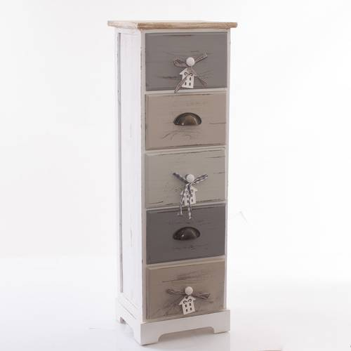 Cassettiera house legno grigio stretta 5 cassetti