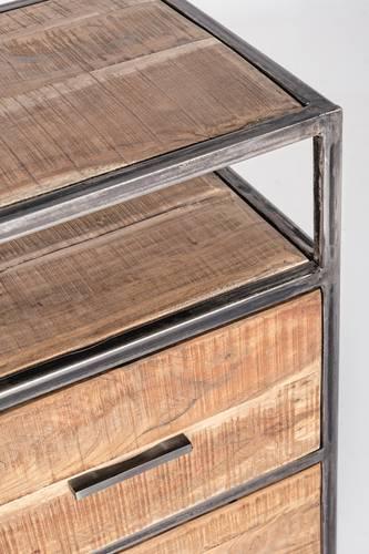 Cassettiera industriale legno e metallo 3 cassetti