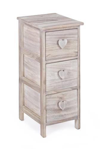 Cassettiera legno naturale cuore stretta 3 cassetti