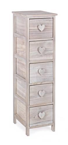 Cassettiera legno naturale cuore stretta 5 cassetti