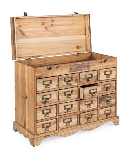 Cassettiera legno officina da tavolo 16 cassetti