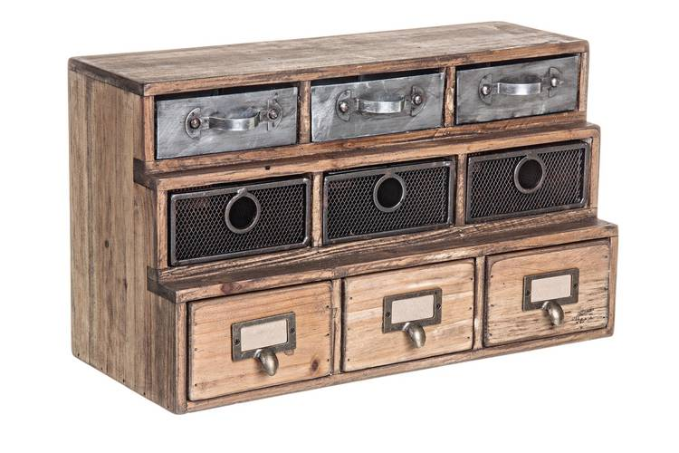 Cassettiera legno officina da tavolo 9 cassetti