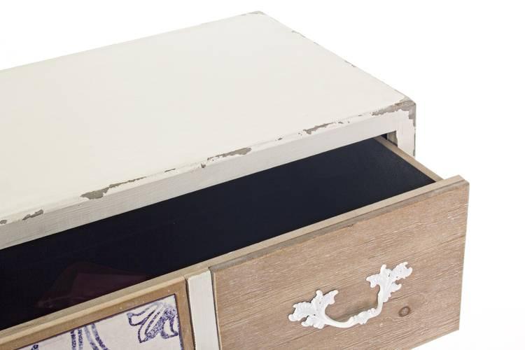 Cassettiera legno shabby fusion 7 cassetti