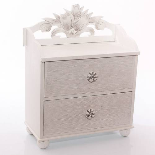 Cassettiera mini legno bianco tulipani 2cassetti 36h