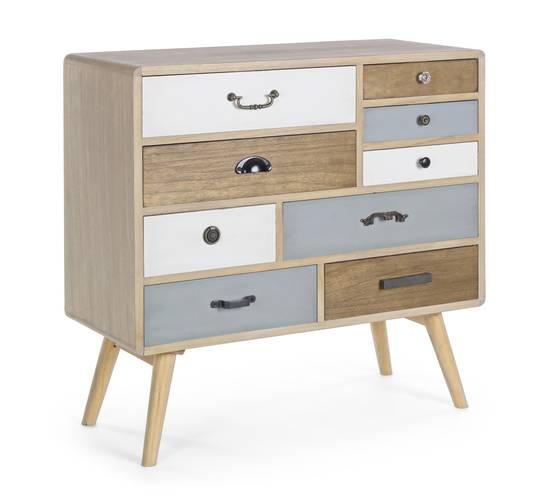 Cassettiera nordica legno 9 cassetti
