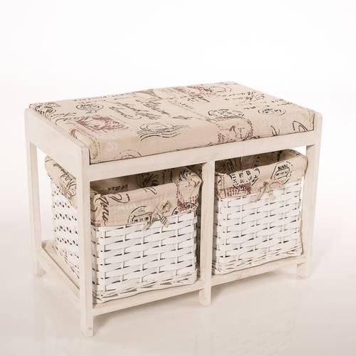 Cassettiera panca legno bianco con cuscino scritte 42h