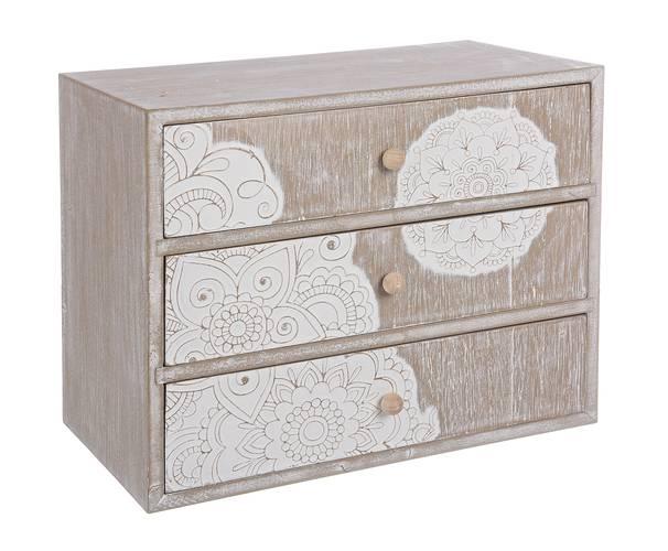 Cassettiera portagioielli legno 3 cassetti disegno mandala