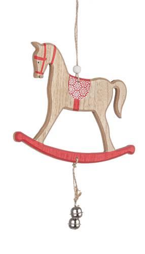 Cavallino legno rosso e naturale pendaglio albero natale