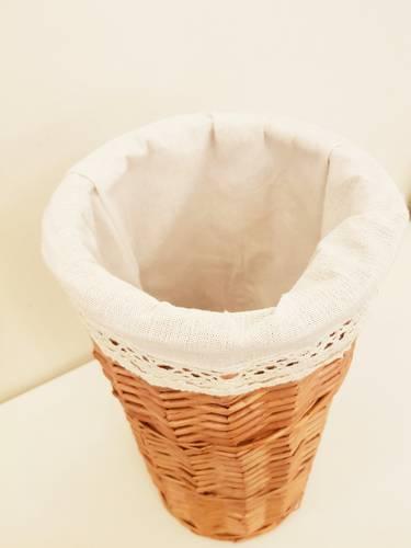 Cestino porta carta igienica vimini naturale fodera con merletto