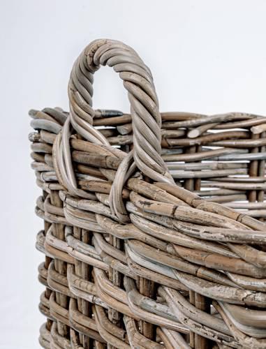 Cesto legna giunco grigio maxi rettangolare con manici