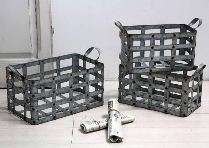 Cesto metallo zincato con maniglie
