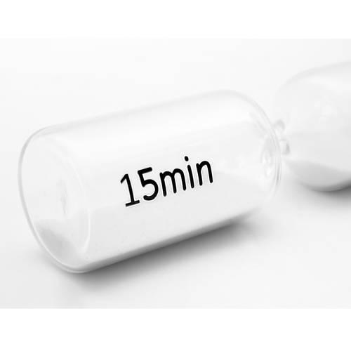 Clessidra cilindro vetro sabbia bianca 15 minuti