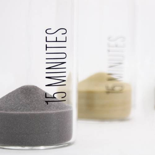 Clessidra cilindro vetro sabbia colorata 15 minuti