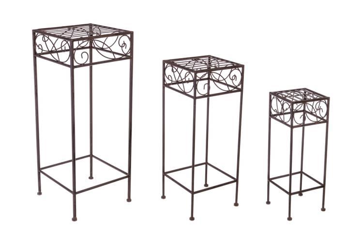 Colonna quadrata portafiori ferro marrone