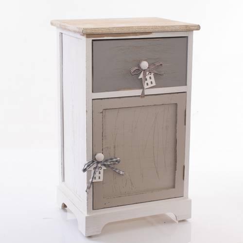 Comodino house legno grigio 1anta +1 cassetto
