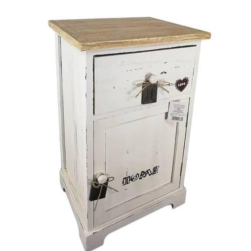 Comodino legno bianco home 1 anta e 1 cassetto