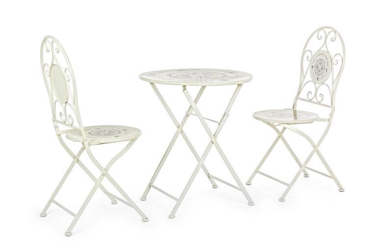 Completo bistrot bussola tavolino e due sedie metallo bianco