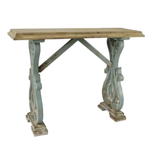 Consolle legno shabby naturale e azzurra cm125