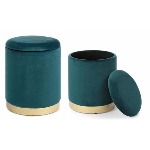 Coppia pouf contenitore velluto blu petrolio navy