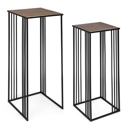 Coppia tavolini portalampada metallo nero e oro