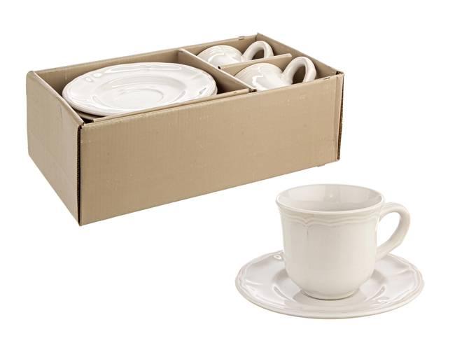 Coppia tazze bianche da te' con piatto