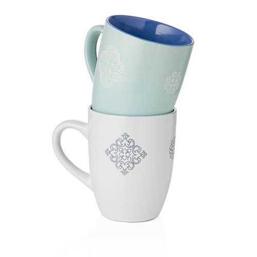 Coppia tazze mug panarea bianco-turchese