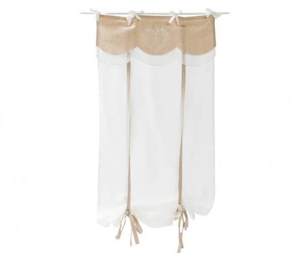 Coppia tende cotone bianco top lino ecru cuore 60x160