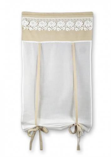 Coppia tende cotone bianco top lino merletto 60x160