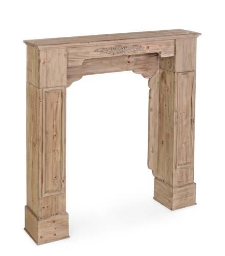 Cornice camino legno naturale con fregio cm101